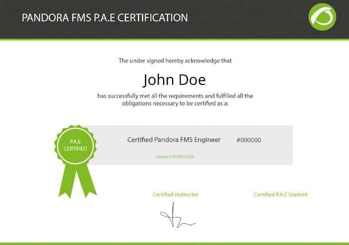 certificaciones oficiales  de Pandora FMS